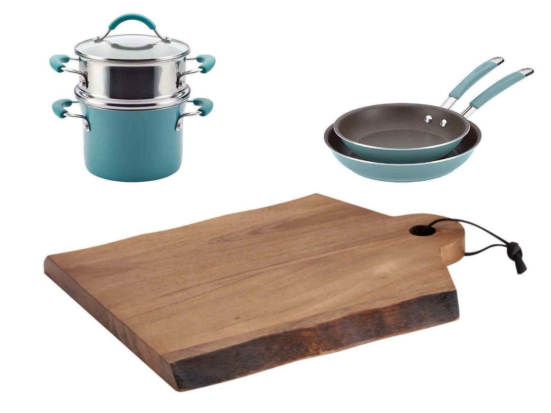 agave aqua teal cookware set cutting board