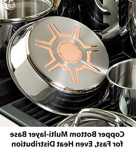 T-fal Stainless Steel Copper Pots and Pans Set, 13 Piece ,