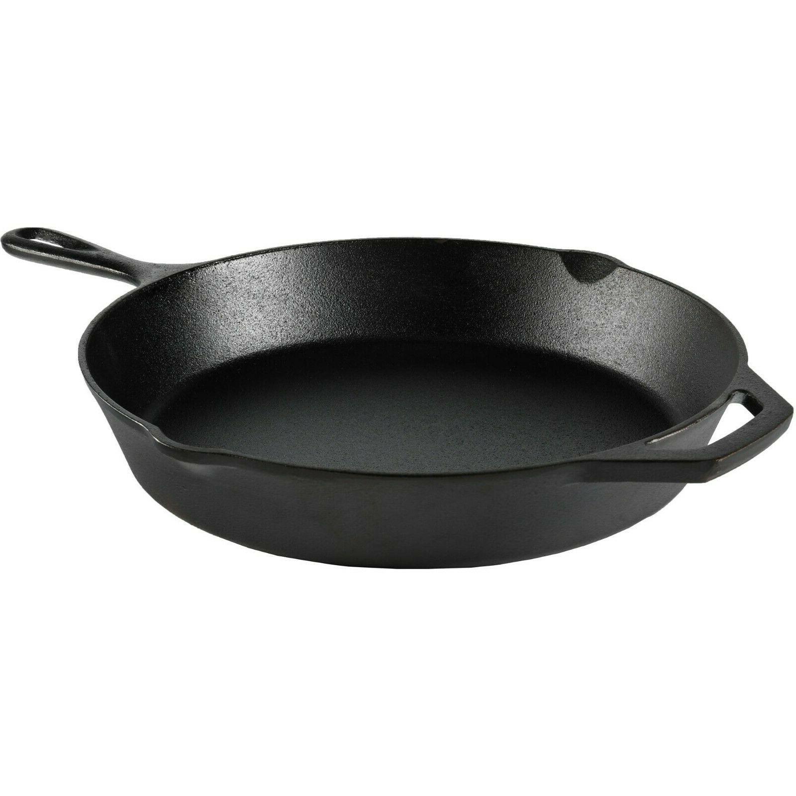 Cast Iron Frying Pan Skillet Pre-Seasoned Vintage Kitchen Fr