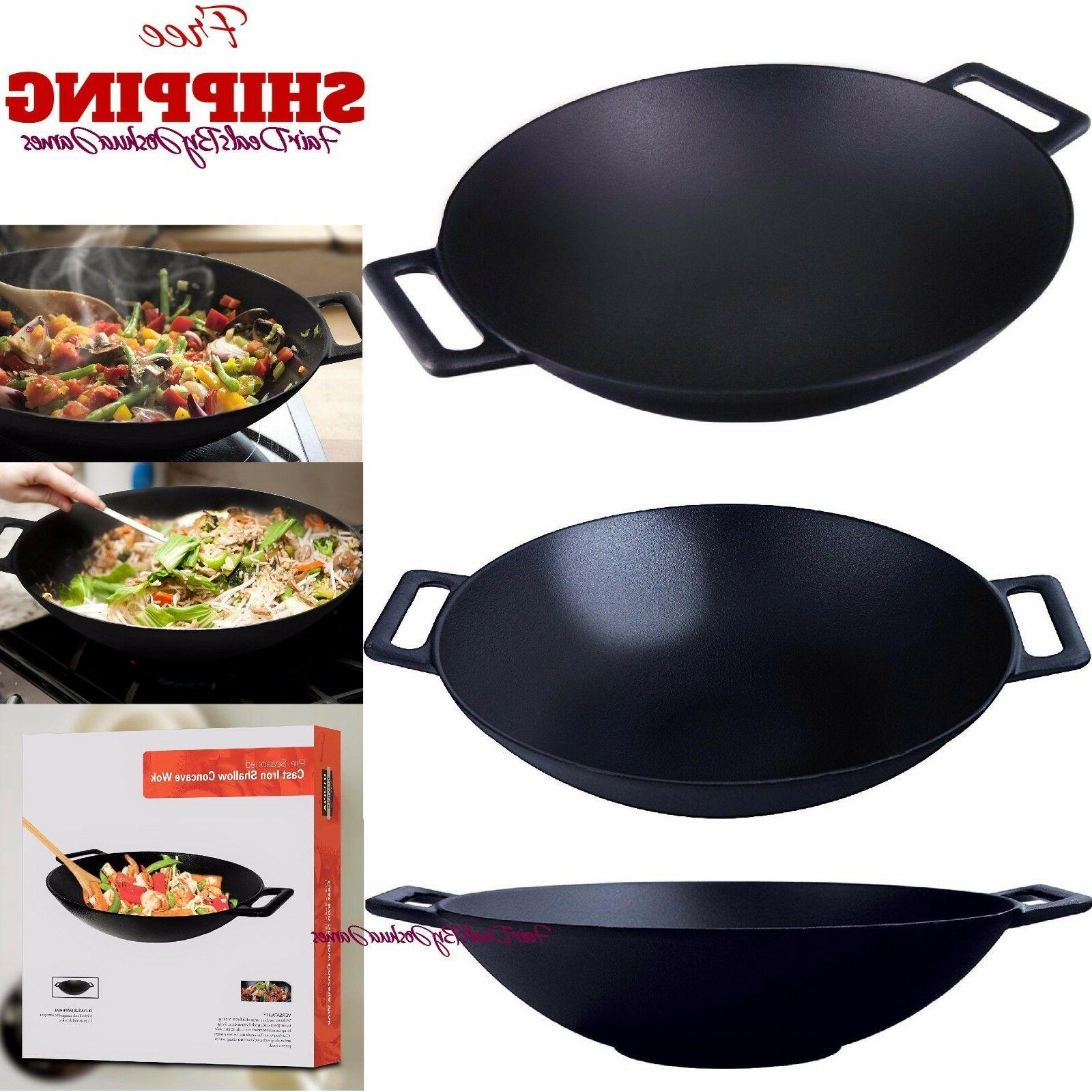 Cast Shallow Concave Wok, by Utopia