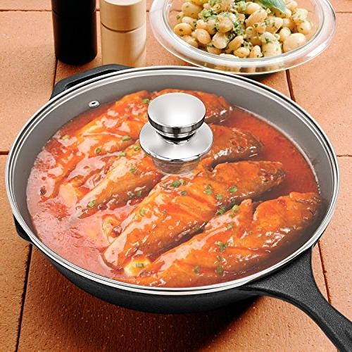 Cast Skillet Lid,IEOKE Pan Inch Heats & Bakes and Outdoor Use