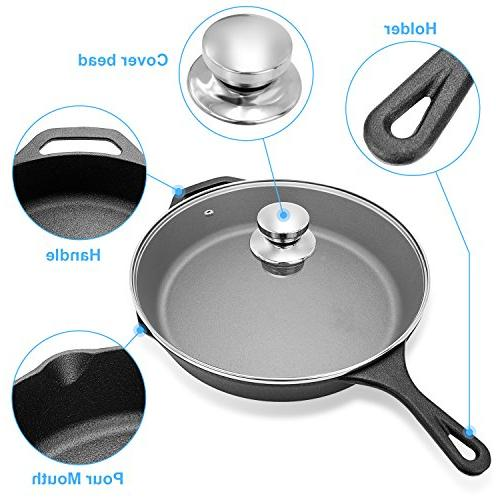 Lid,IEOKE Pre-Seasoned Inch Stovetop & Bakes Evenly Indoor and Outdoor Use