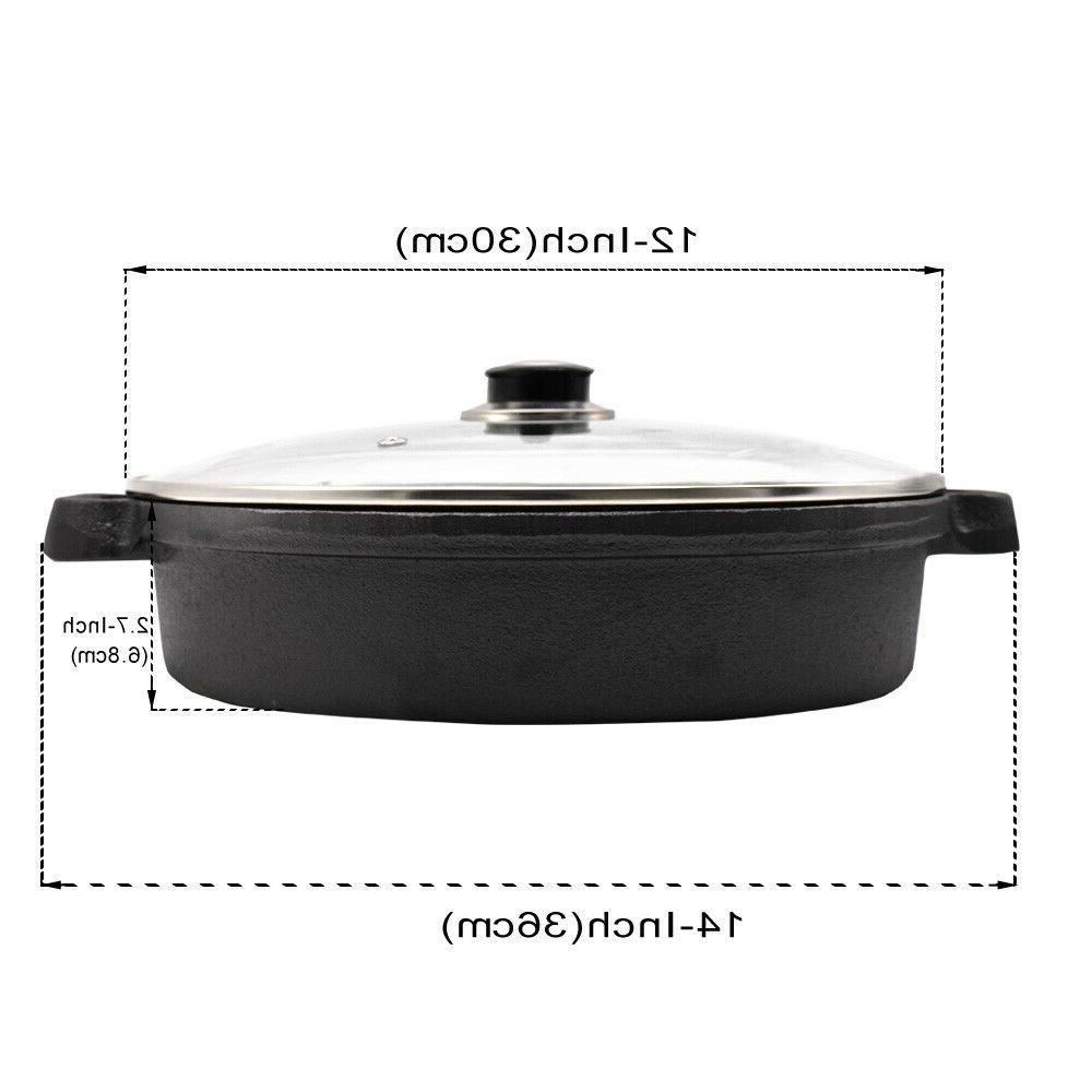 Cast with Tempered Glass Lid Double Frying Pan