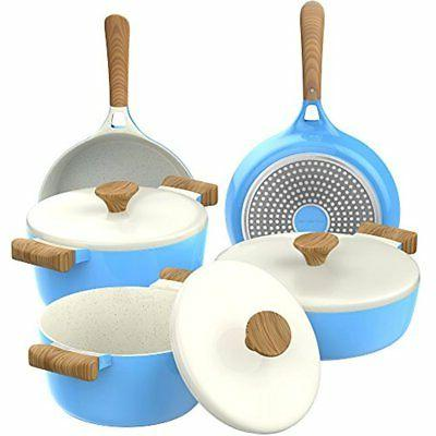 Vremi Ceramic Nonstick Induction Safe Stick Pots and Frying Lids Oven Pot Fry Pan for PFOA Free