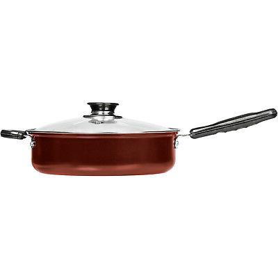 "Chef's Deep 11"" Stick Chicken Fryer Saute Pan W/ Glass"