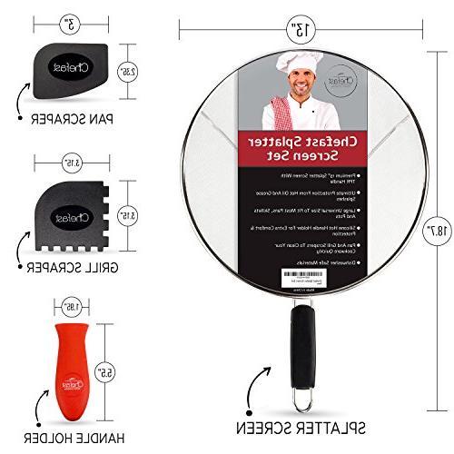 """Chefast Splatter Screen Set - Premium 13"""" Stainless"""