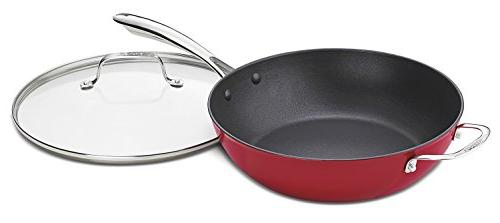 Cuisinart CIL345-30R CastLite Non-Stick Cast Iron Chefs Pan with Helper and Cover Red 4.5-Quart