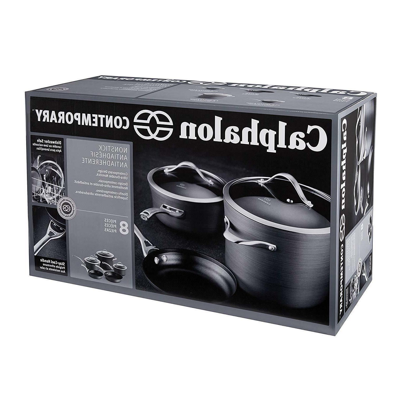 contemporary hard anodized aluminum nonstick cookware set