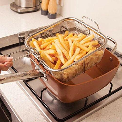 Copper Cookware 10 Piece Deep Pan Frying Pan
