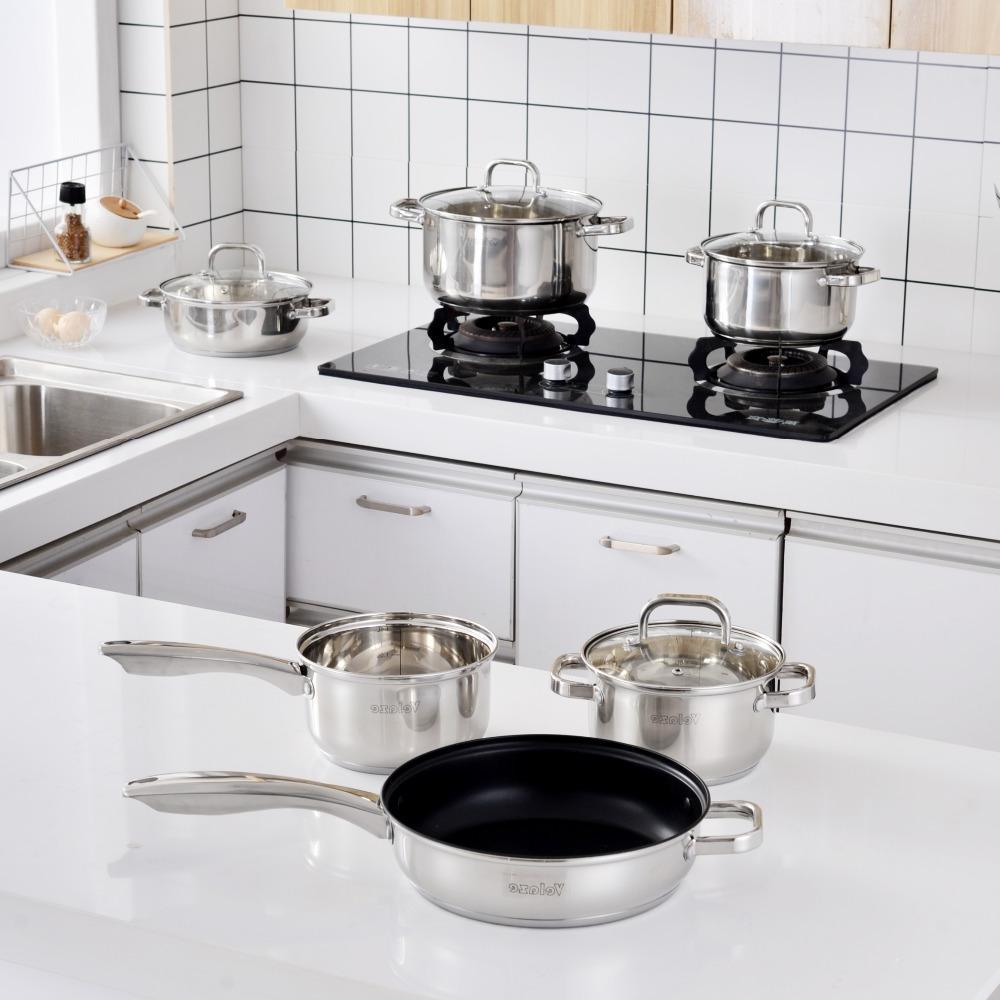 Velaze Set Stainless Steel Set,Induction Safe,<font><b>Non</b></font> <font><b>Pan</b></font>,Saucepan,Casserole,Glass Lid