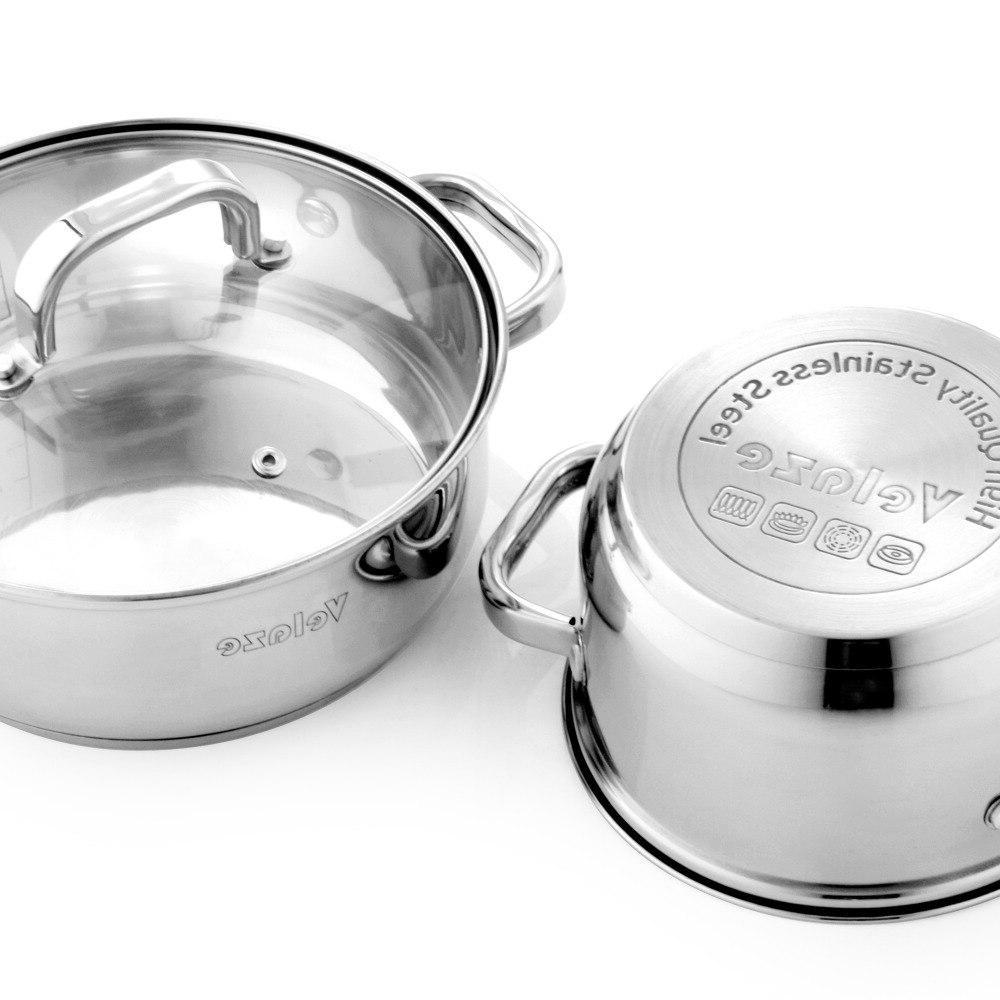 Velaze Stainless Steel Set,Induction Safe,<font><b>Non</b></font> <font><b>Pan</b></font>,Saucepan,Casserole,Glass