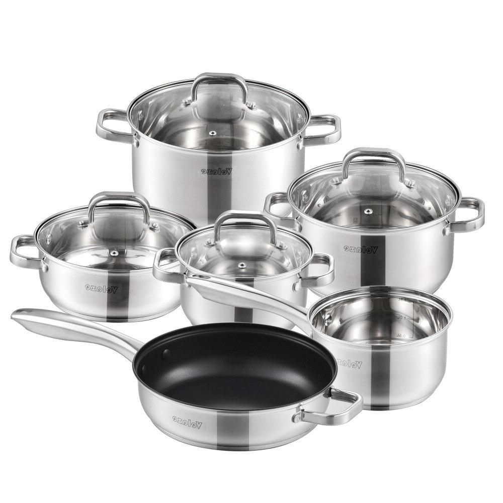 cookware set stainless steel 10 piece cooking