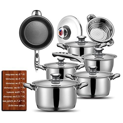 Cookware Cookware 18/8 13 Full saucepan,casserole,steamer
