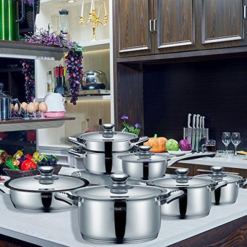 Cookware Cookware set 18/10 18/8 of Full Set of saucepan,casserole,steamer frying pan