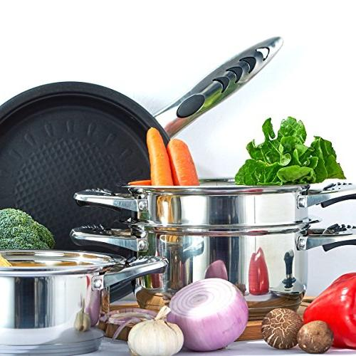 Cookware Stainless Cookware set 18/10 and 18/8 HOFFMAYRO of thermometer Full Set of saucepan,casserole,steamer frying