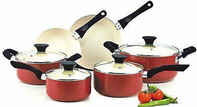 cookware sets red pots pans