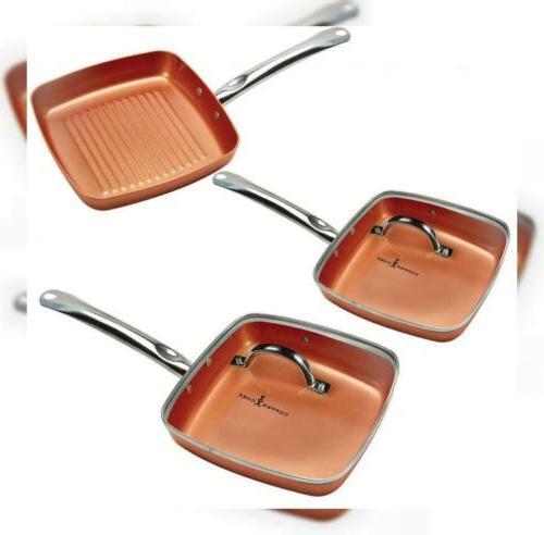 copper chef square fry pan set
