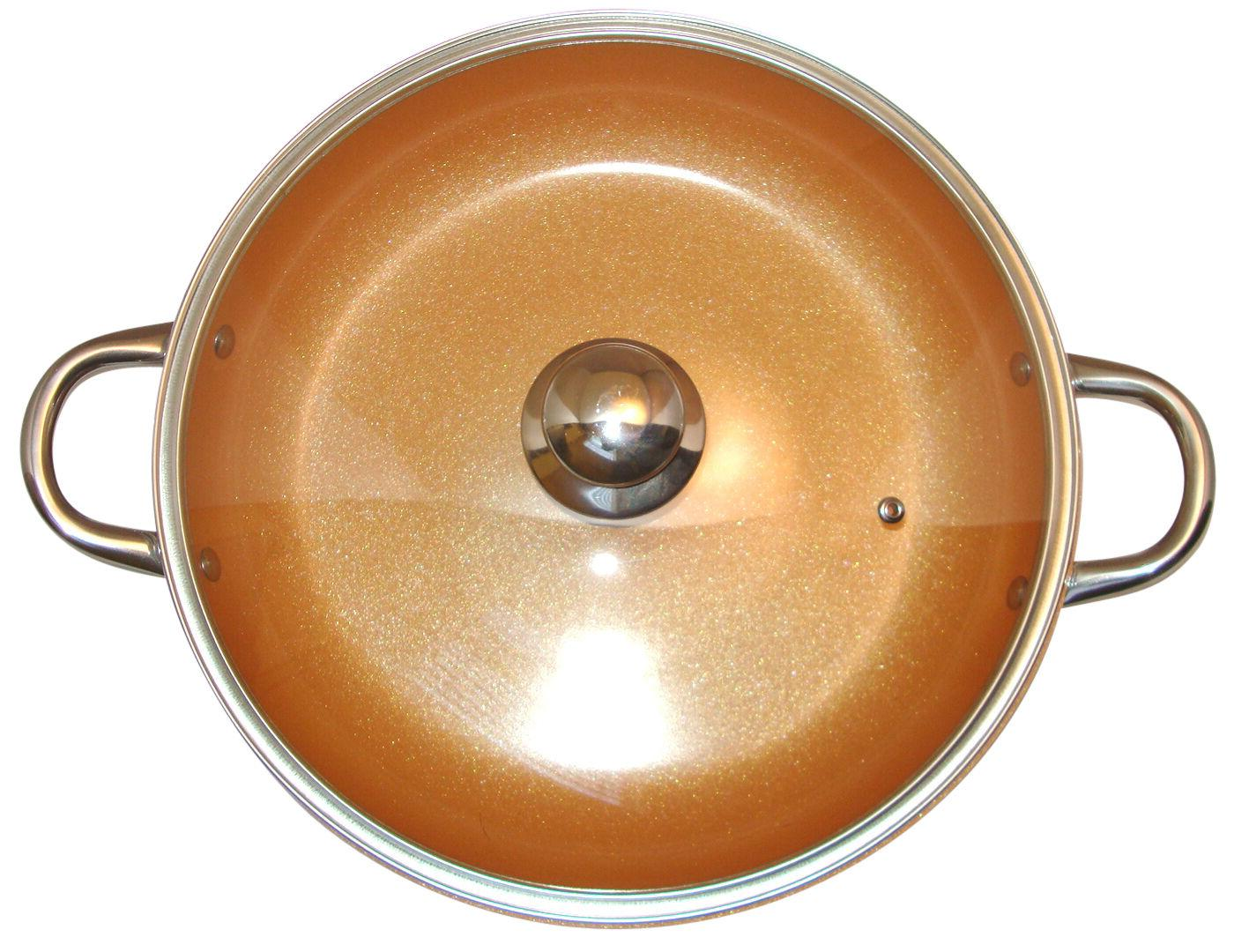 copper frying pan 14 inches with glass