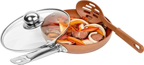 Copper Frying Pan with Lids Spoons - Non-Stick Chef 8,10 & 12'' Heavy Temepered Lids PFOA Skillet, Oven & Safe Lids Professional &