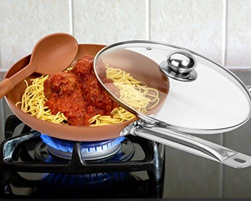 Copper with Lids and - Non-Stick 8,10 & 12'' Heavy Duty Lids - PFOA Free Skillet, Oven & Safe &