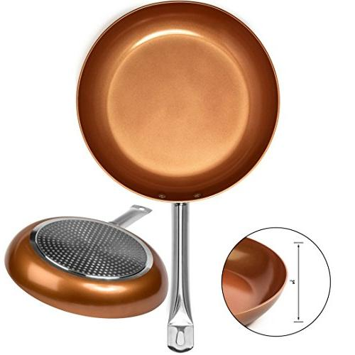 Copper Frying with and Spoons - Pan 8,10 Heavy Temepered Lids Skillet, Lids &