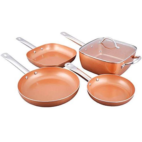 Copper Pan with and 8,10 Heavy Glass Lids - PFOA Skillet, Oven Safe Lids Professional Spatula & Spoon