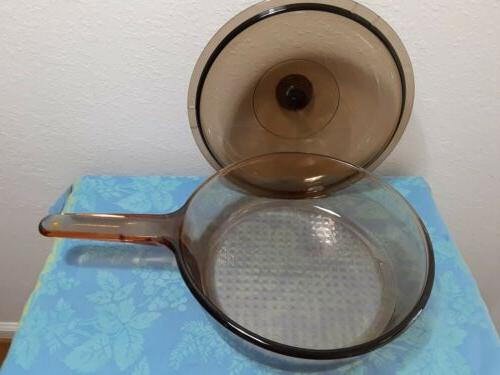 Corning Visions Frying Pan Lid Vintage Amber Excellent