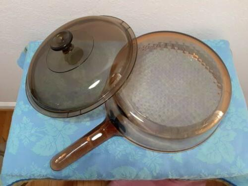 "Corning 10"" Frying Pan Skillet W Lid Amber Pyrex Excellent"