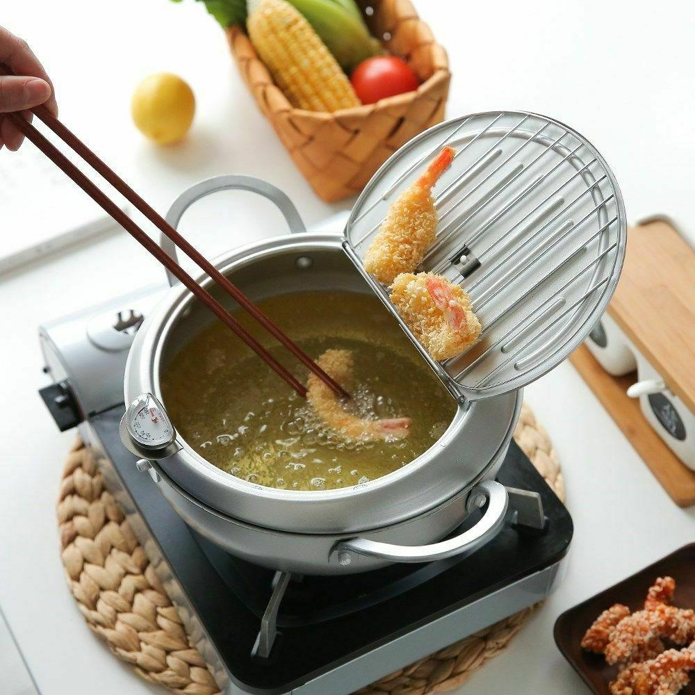 Deep Frying Pot Japanese Style Pan Temperature Control Cooki
