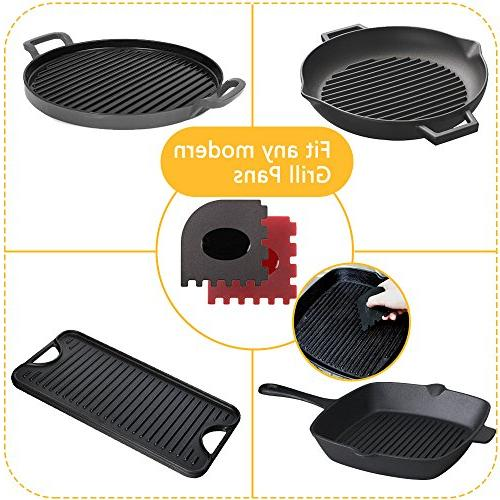 Haicheng 6 Piece Grill Scraper Set Tool Hot Handle Holder for Cast Skillets, Frying Pans Griddles