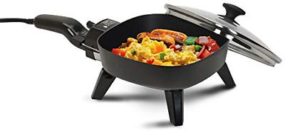 electric frying pan with glass lid cooking