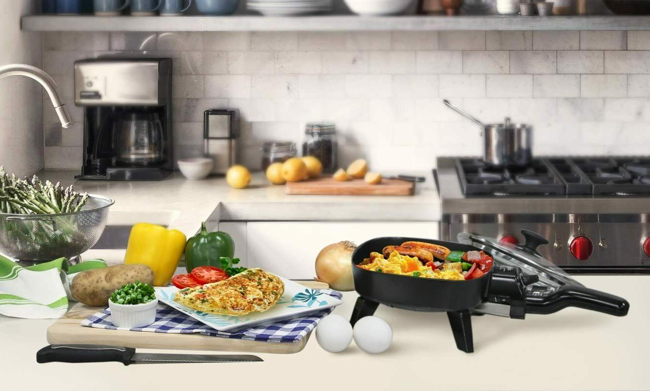 Electric With Glass Cooking Fry Mini Portable