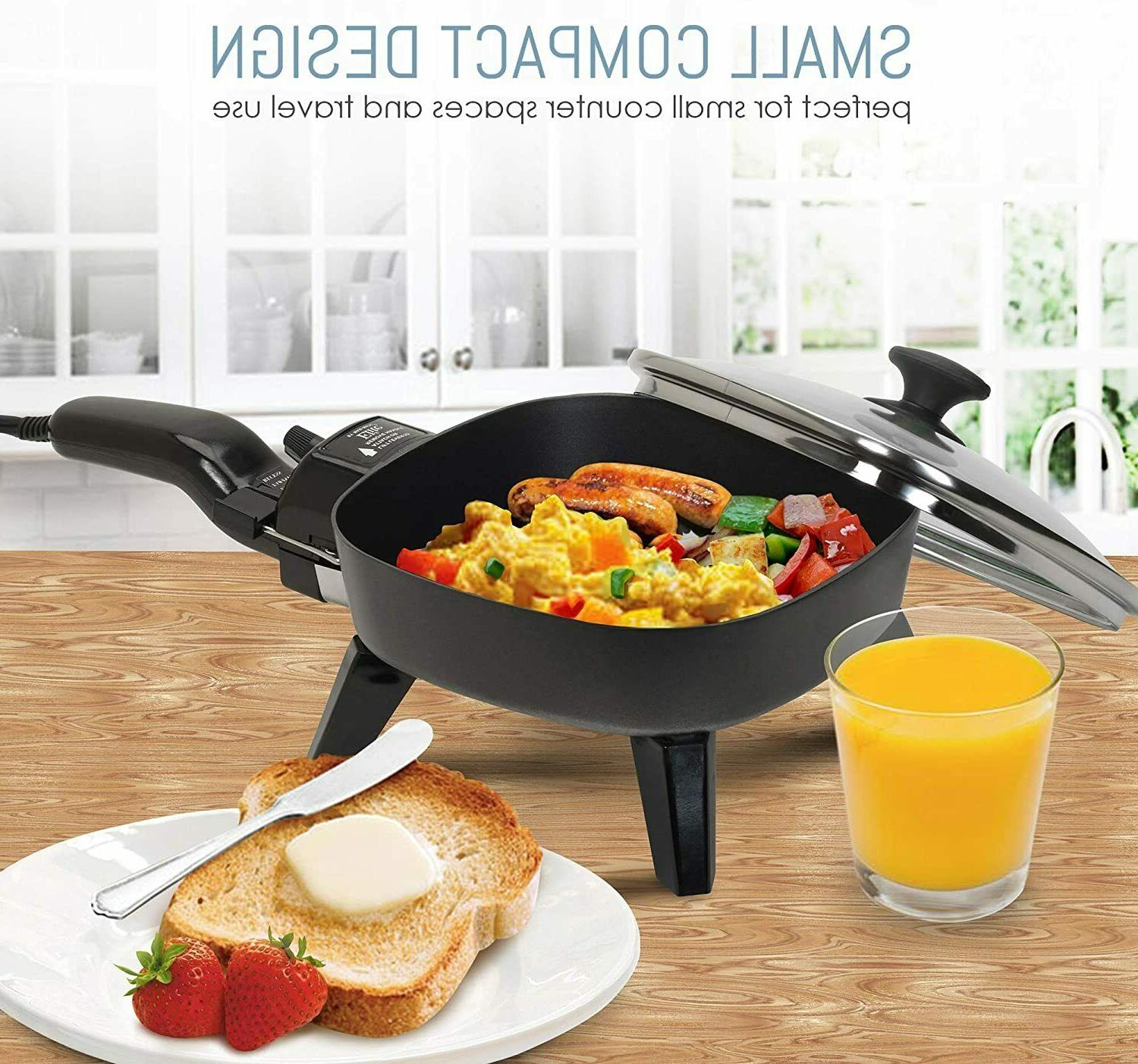 Electric Pan With Glass Skillet Fry Small Mini