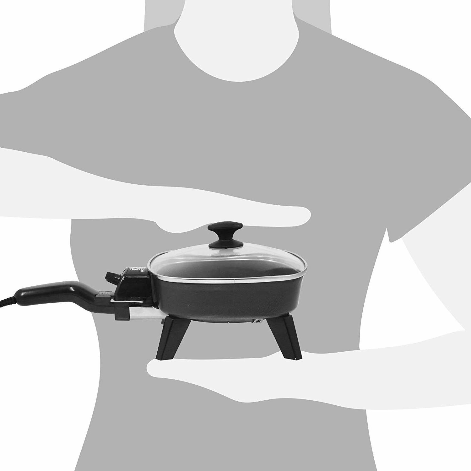 Electric Frying Glass Lid Fry Pan Portable