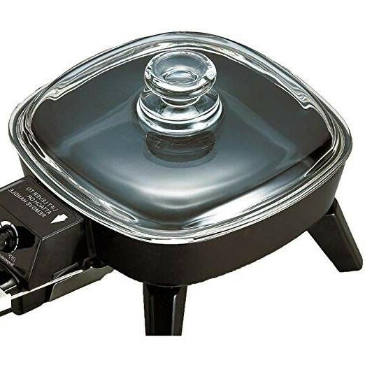 Electric Glass Lid Fry Small Mini Portable