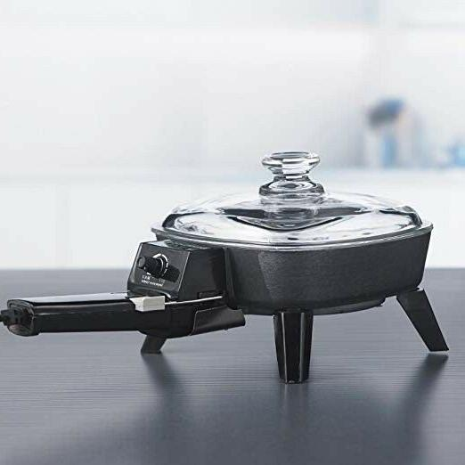 Electric Frying Pan Glass Cooking Fry Portable