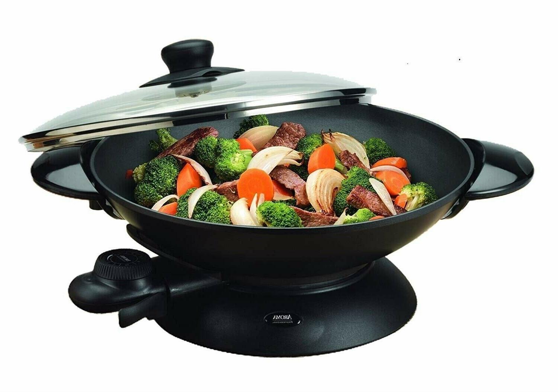 EsMall Wok Stir Fry Pan Lid Nonstick Capacity Sleek