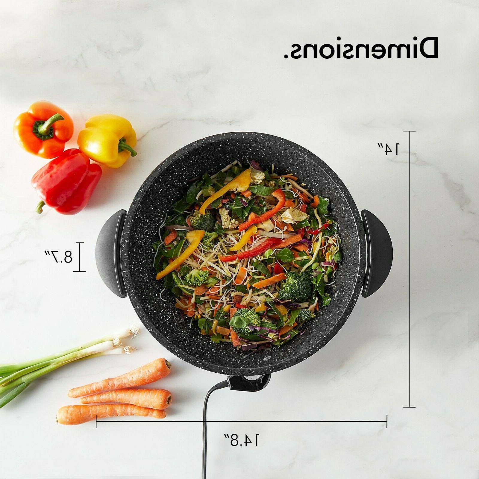 VonShef Electric Non Quart Stir Fry Pan Lid inch