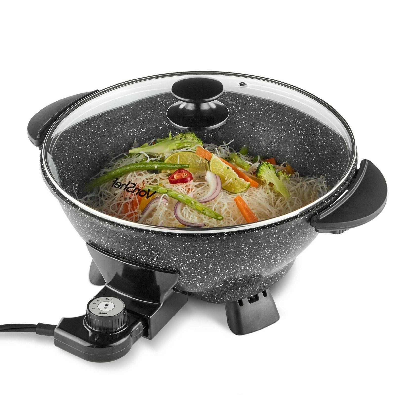 electric wok pan non stick 7 qt