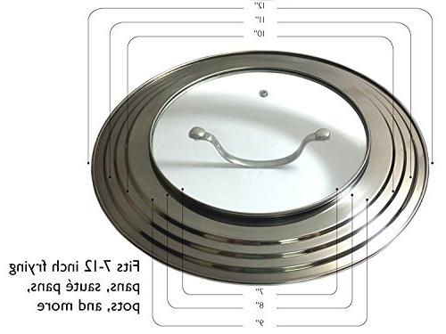 """Elegant Stainless Glass Universal All to 12"""" Frying Pan Cookware Lids - Innovations"""