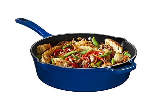 Enameled Cast Iron Deep Sauté Pan with Lid, Blue, Superior Heat