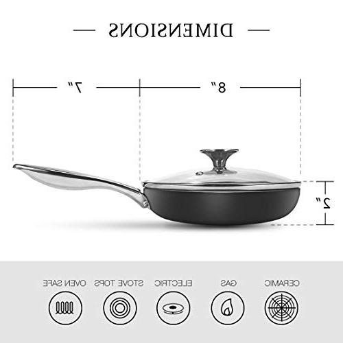 MICHELANGELO Pan Nonstick with Ceramic Titanium Coating, Copper Frying Lid, 8 Skillet with Induction Compatible Copper