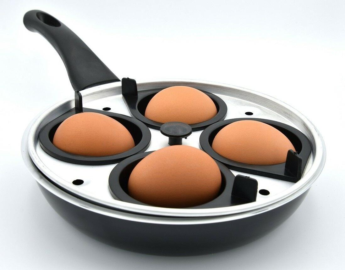 Frying Non Set With Glass Lid Cover Egg Poacher Insert 4