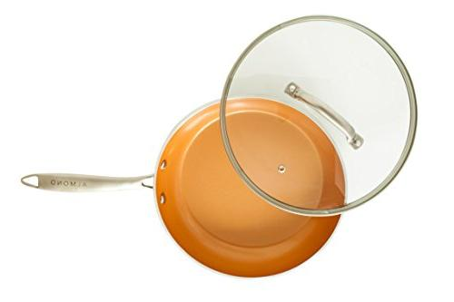 Glass Frying Pan 10.25 Cookware Lid With | Stainless and Rim | Oven Safe and | for Steaming, Simmering,