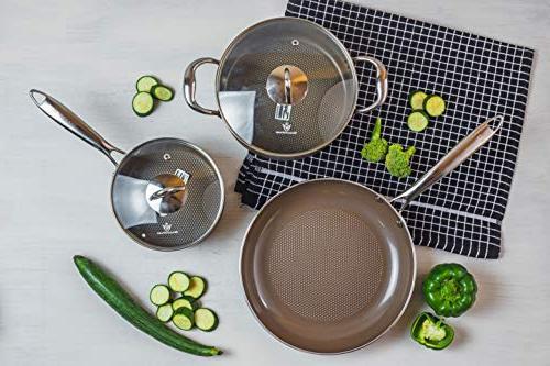 WaxonWare Piece Cookware Pan, Dutch PTFE APEO Nonstick Set, Safe Coating