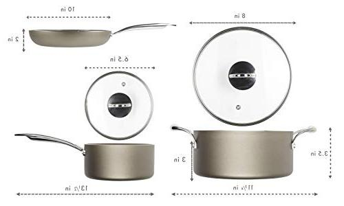 WaxonWare Cookware Ceramic Pan, Saucepan, PTFE Nonstick Pots and Set, Induction Safe Cookware With Coating