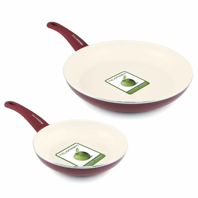 """Kitchen Cookware Green Nonstick Cool 7"""" Open"""