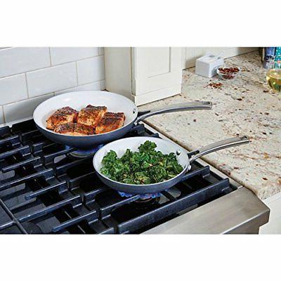 NEW 2 Classic Ceramic Nonstick Omelet Chef Grey/White