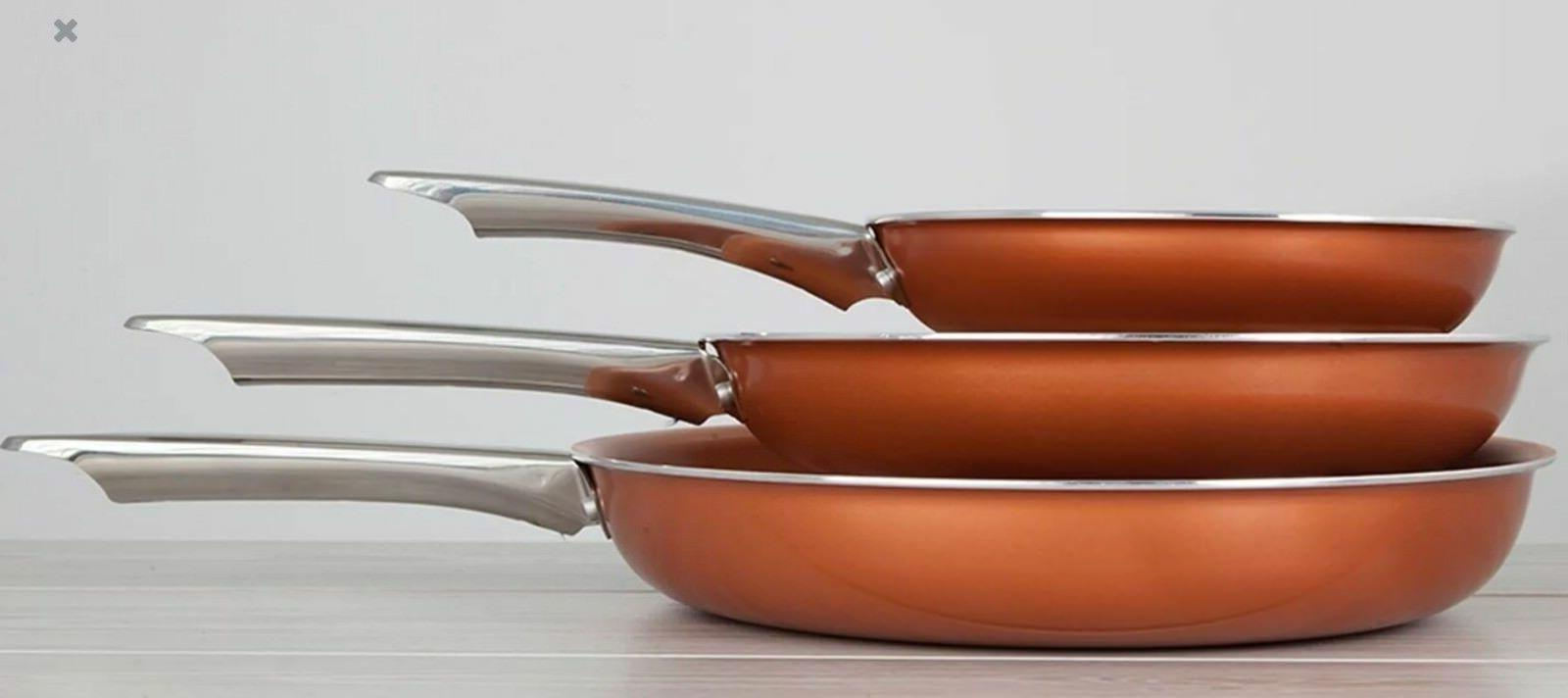 Non Stick Pan Copper Healthy pcs Induction Skillet Kitchen