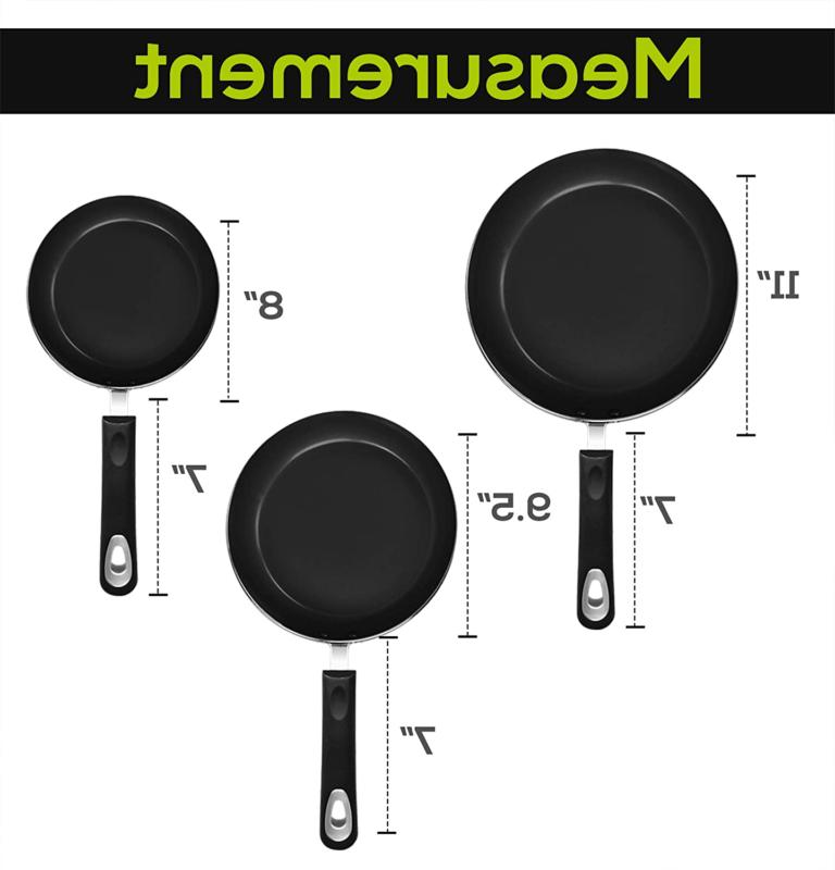 Nonstick Pan Induction Bottom Kitchen Double Coated 3 Piece